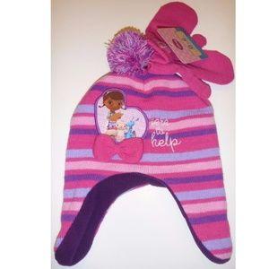58a56075967 Tod Girls Knit DOC McSTUFFINS Winter HAT   Mittens